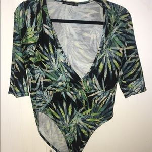 Tropic Green Plunge Half Sleeve Bodysuit